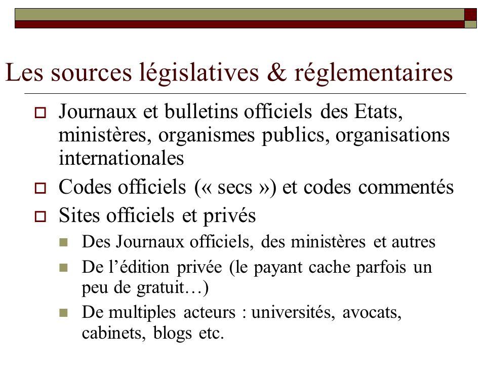 Les sources législatives & réglementaires