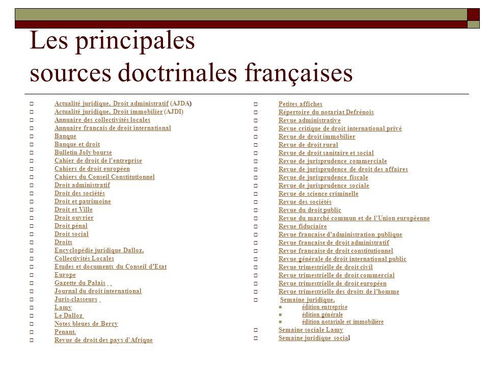 Les principales sources doctrinales françaises