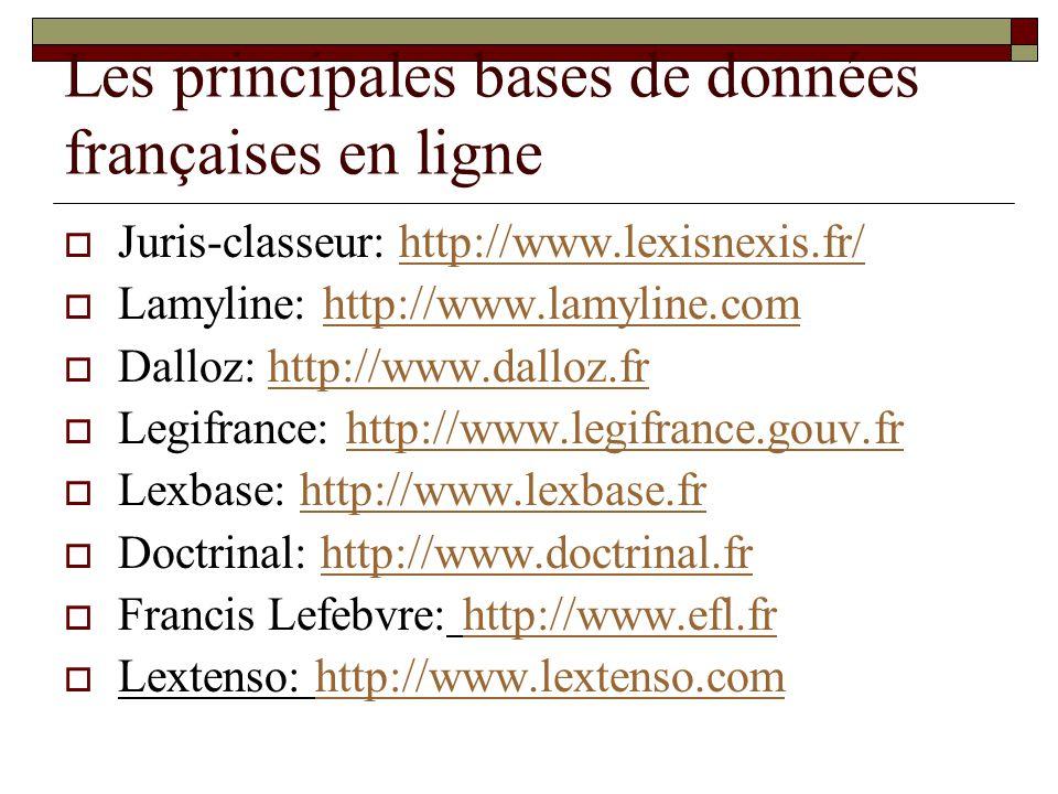 Les principales bases de données françaises en ligne