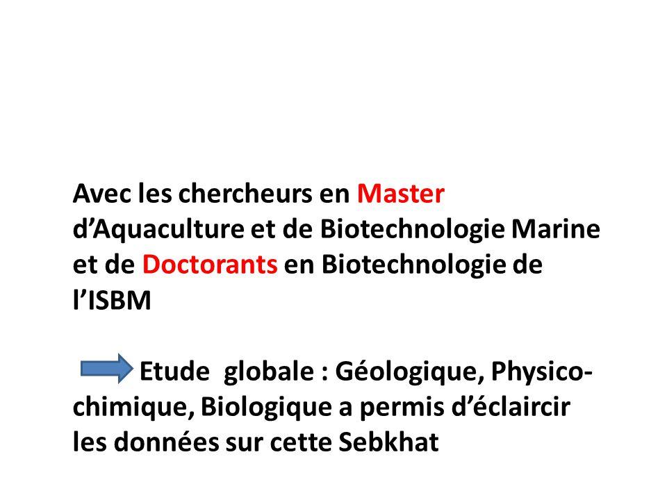 Avec les chercheurs en Master d'Aquaculture et de Biotechnologie Marine et de Doctorants en Biotechnologie de l'ISBM