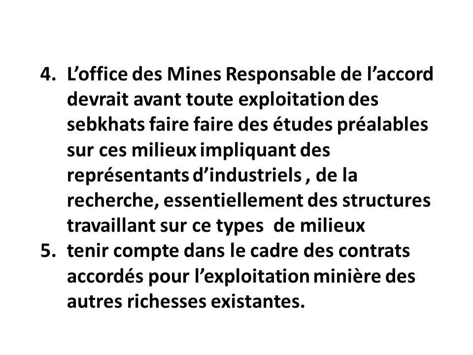 L'office des Mines Responsable de l'accord devrait avant toute exploitation des sebkhats faire faire des études préalables sur ces milieux impliquant des représentants d'industriels , de la recherche, essentiellement des structures travaillant sur ce types de milieux