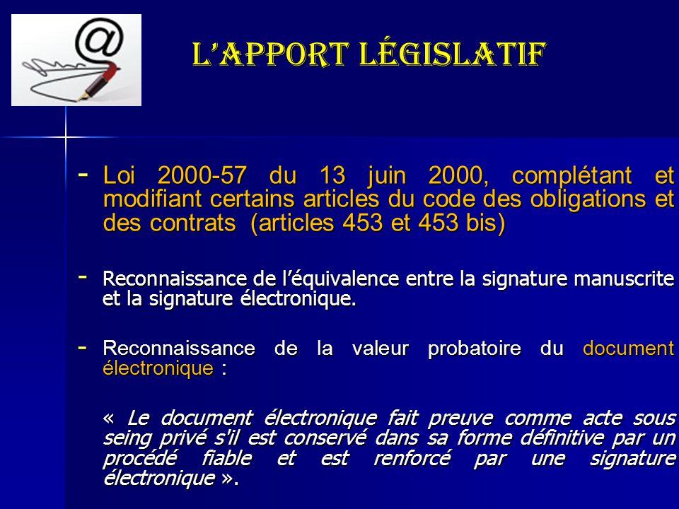 L'Apport législatif