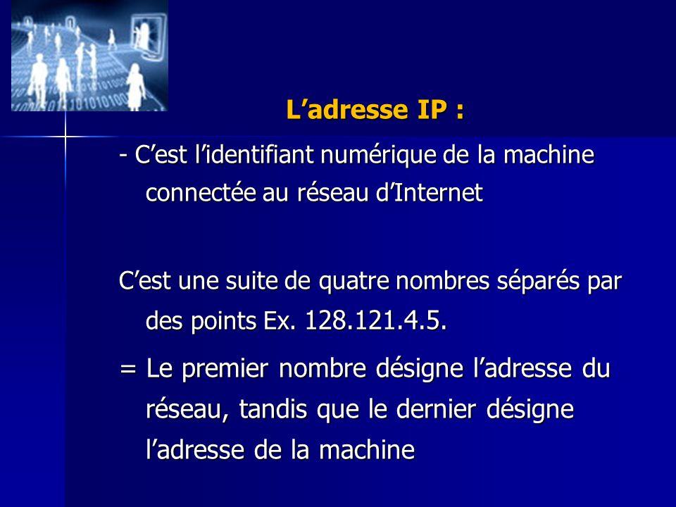 L'adresse IP : - C'est l'identifiant numérique de la machine connectée au réseau d'Internet.