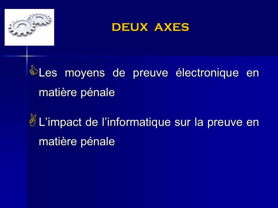DEUX AXES Les moyens de preuve électronique en matière pénale.