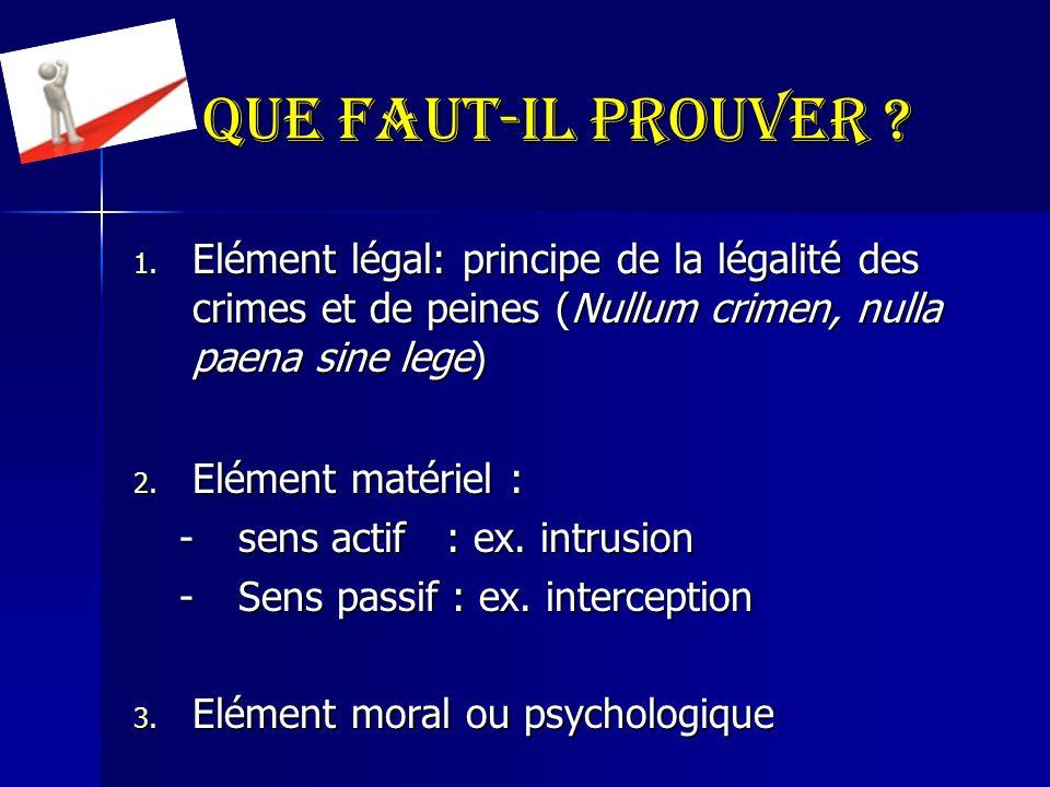 Que faut-il prouver Elément légal: principe de la légalité des crimes et de peines (Nullum crimen, nulla paena sine lege)