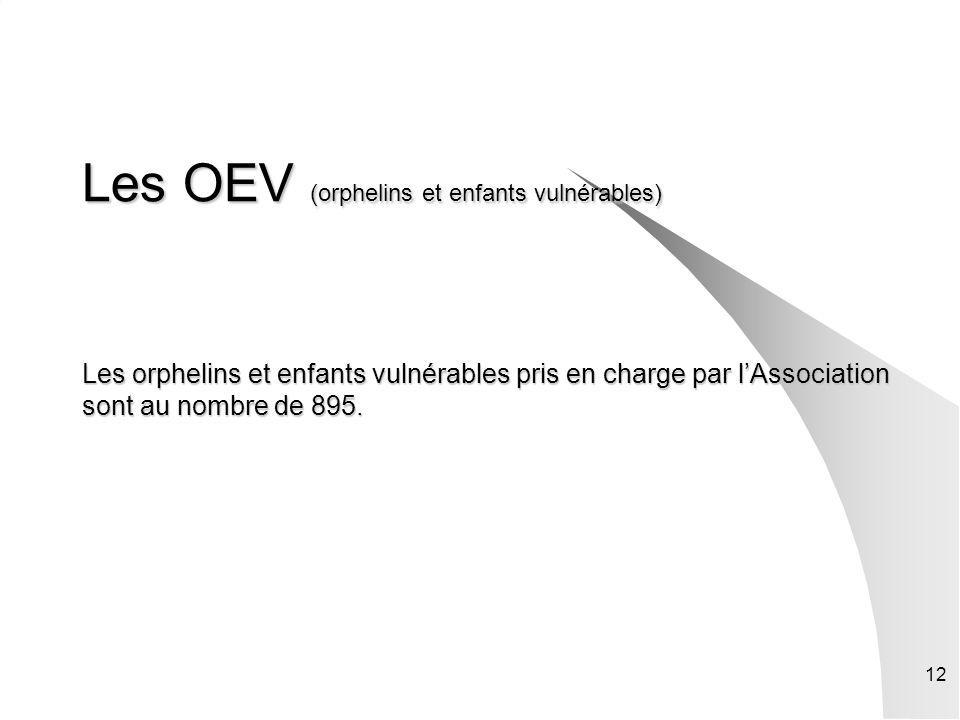 Les OEV (orphelins et enfants vulnérables) Les orphelins et enfants vulnérables pris en charge par l'Association sont au nombre de 895.