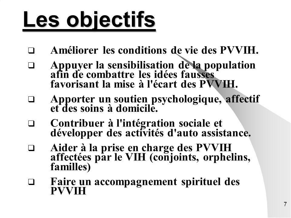 Les objectifs Améliorer les conditions de vie des PVVIH.