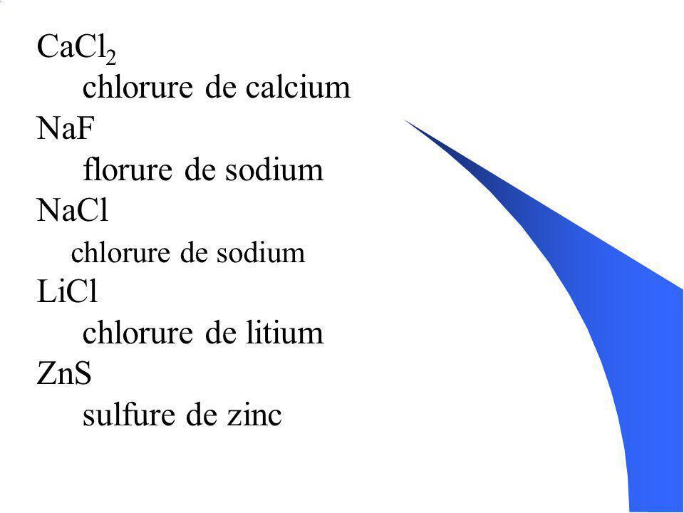 CaCl2 chlorure de calcium NaF florure de sodium NaCl LiCl