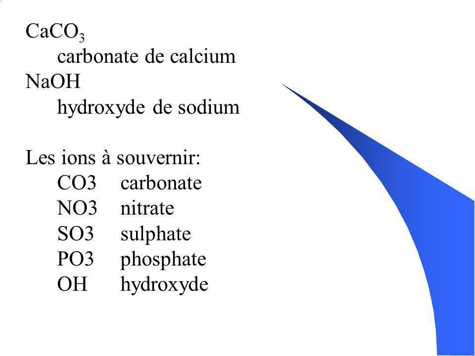 CaCO3 carbonate de calcium. NaOH. hydroxyde de sodium. Les ions à souvernir: CO3 carbonate. NO3 nitrate.