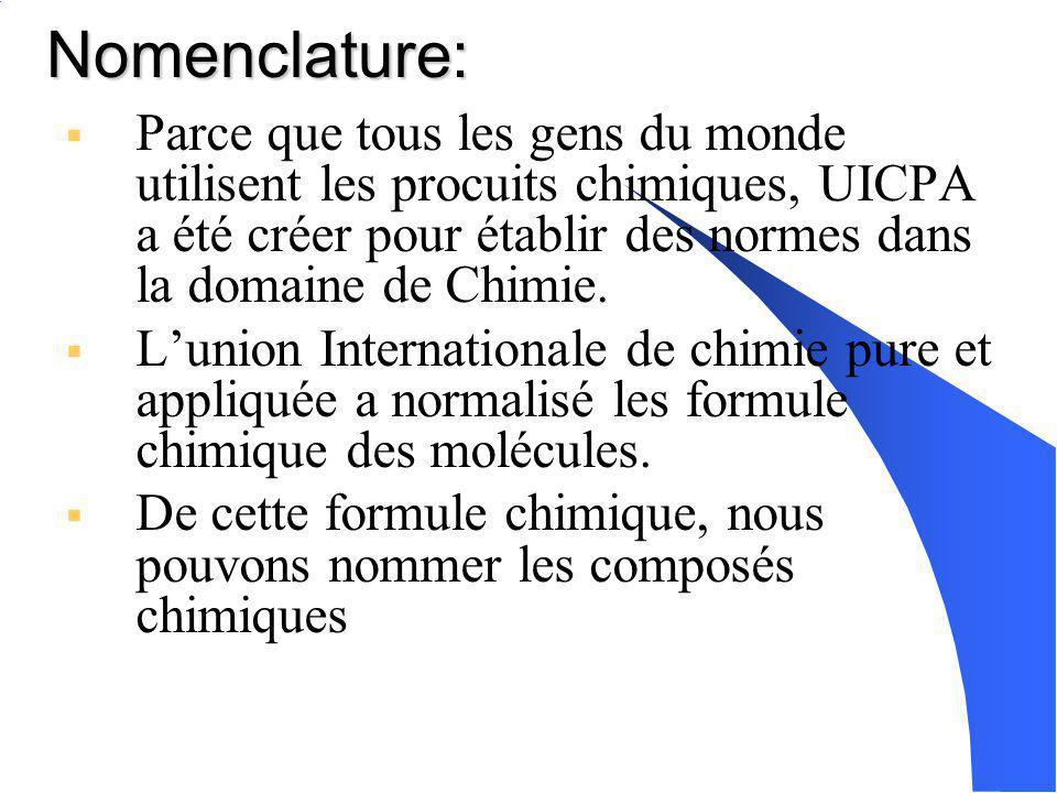 Nomenclature: Parce que tous les gens du monde utilisent les procuits chimiques, UICPA a été créer pour établir des normes dans la domaine de Chimie.