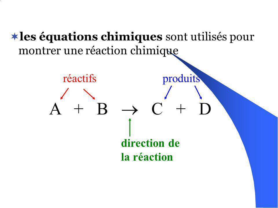 les équations chimiques sont utilisés pour montrer une réaction chimique