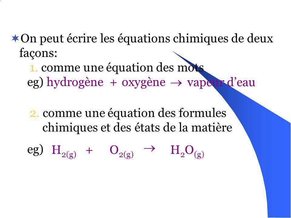 On peut écrire les équations chimiques de deux façons: