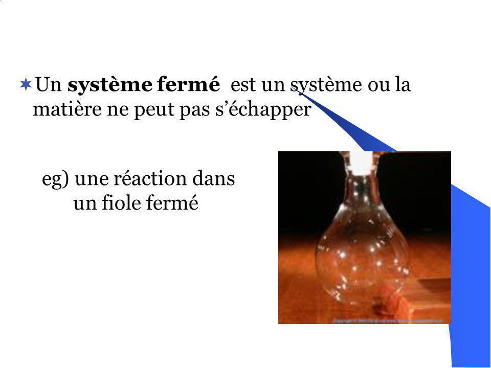 Un système fermé est un système ou la matière ne peut pas s'échapper