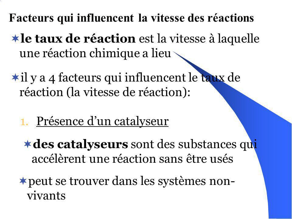 Facteurs qui influencent la vitesse des réactions