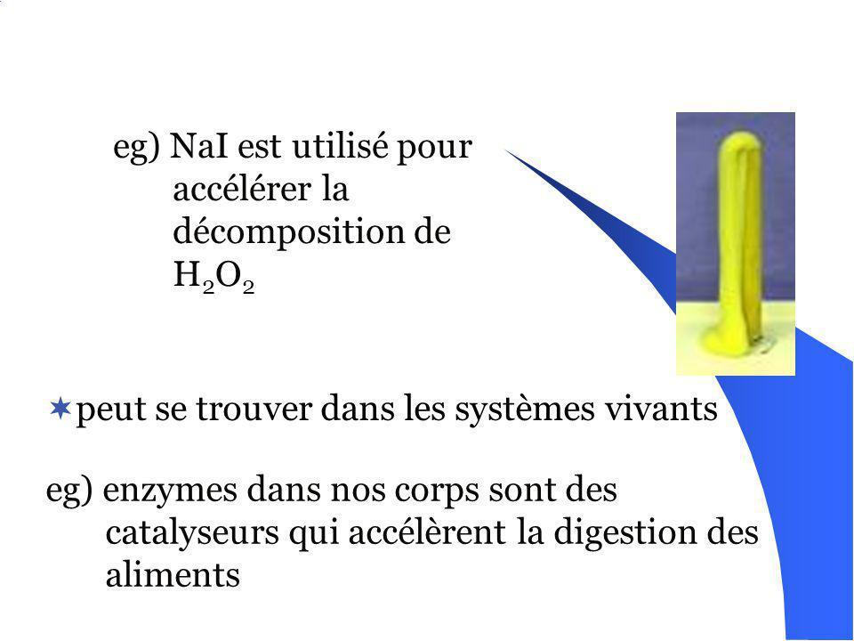 eg) NaI est utilisé pour accélérer la décomposition de H2O2