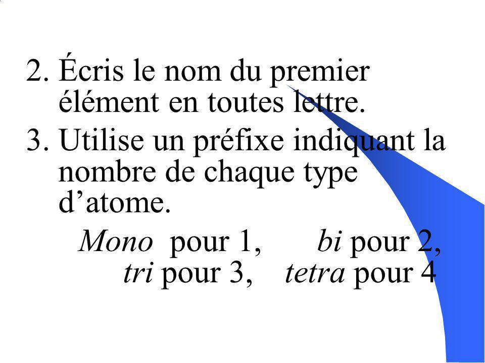 2. Écris le nom du premier élément en toutes lettre.
