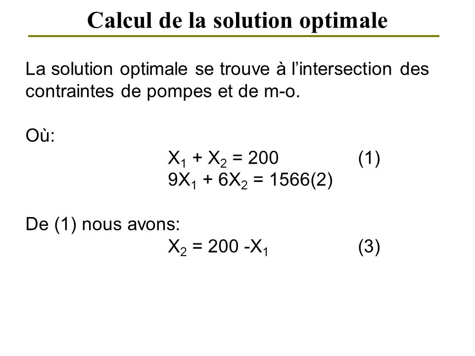 Calcul de la solution optimale