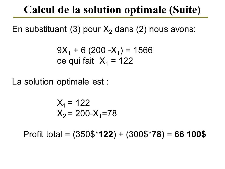 Calcul de la solution optimale (Suite)