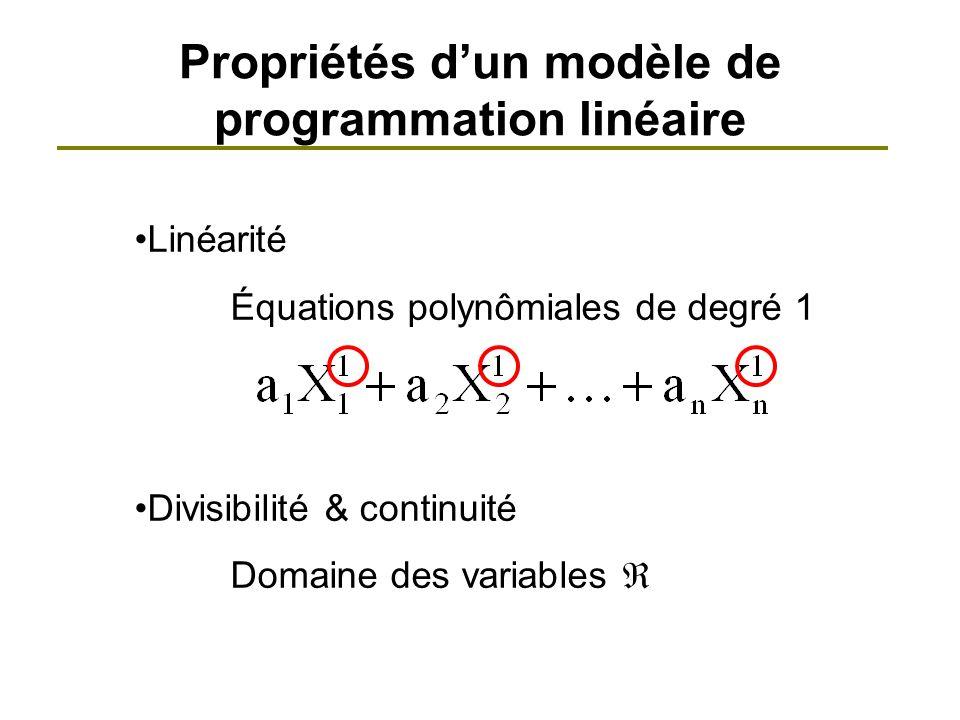 Propriétés d'un modèle de programmation linéaire
