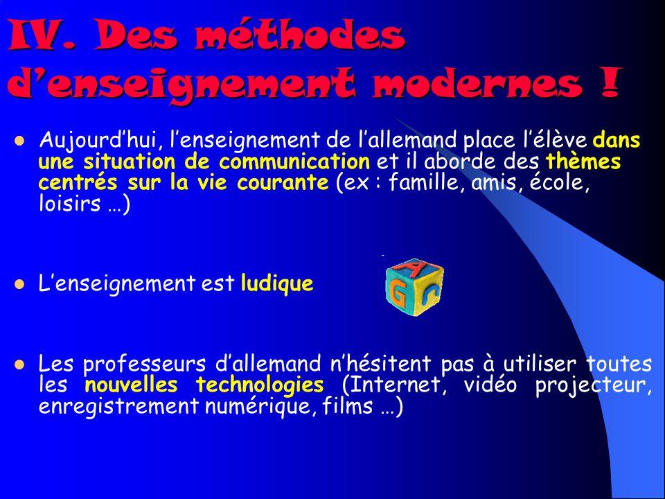 IV. Des méthodes d'enseignement modernes !