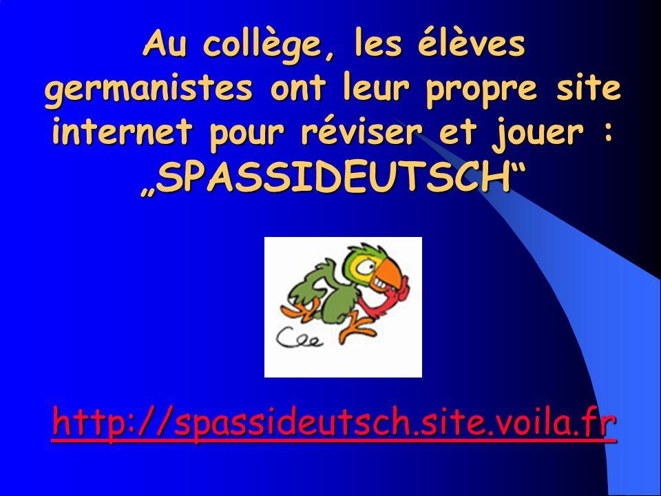 """Au collège, les élèves germanistes ont leur propre site internet pour réviser et jouer : """"SPASSIDEUTSCH"""
