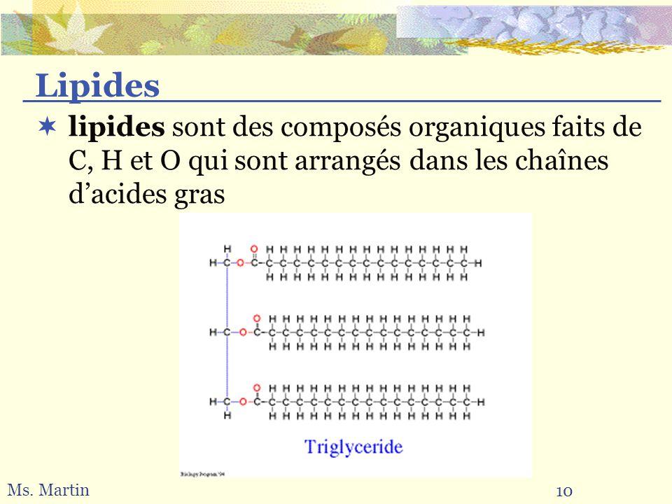 Lipides lipides sont des composés organiques faits de C, H et O qui sont arrangés dans les chaînes d'acides gras.