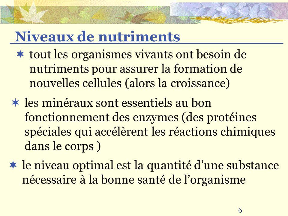 Niveaux de nutriments tout les organismes vivants ont besoin de nutriments pour assurer la formation de nouvelles cellules (alors la croissance)
