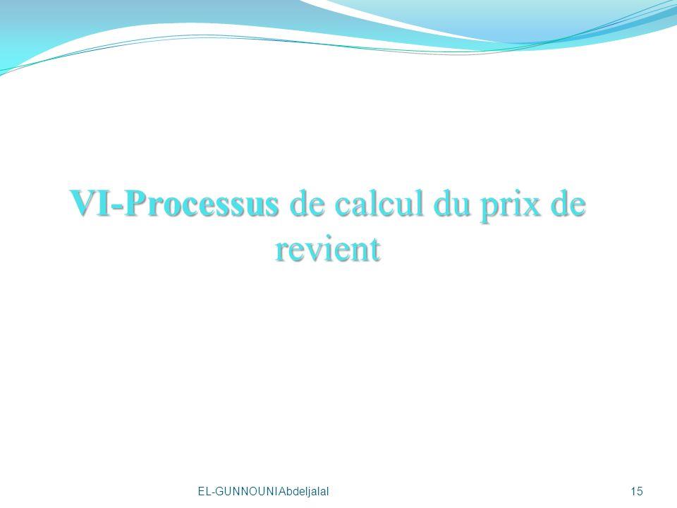 VI-Processus de calcul du prix de revient