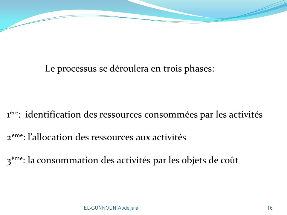 Le processus se déroulera en trois phases: 1ère: identification des ressources consommées par les activités 2ème: l'allocation des ressources aux activités 3ème: la consommation des activités par les objets de coût