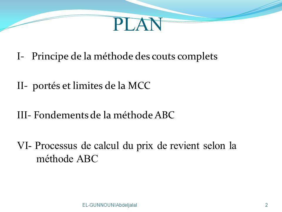 PLAN VI- Processus de calcul du prix de revient selon la méthode ABC