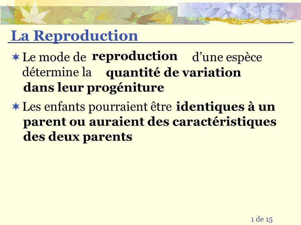 La Reproduction Le mode de d'une espèce détermine la reproduction
