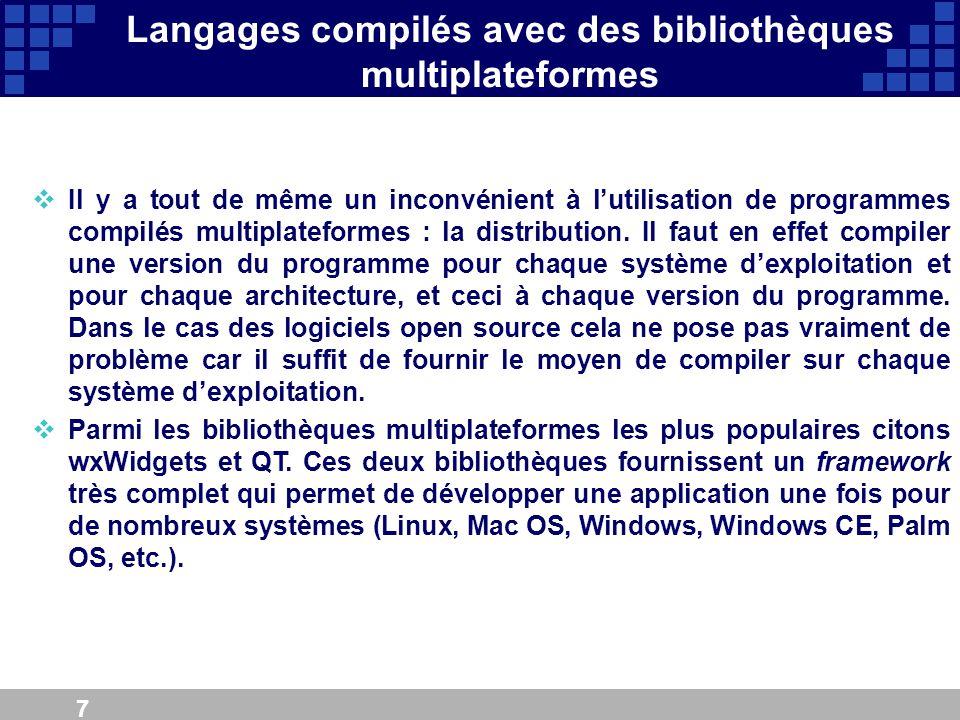 Langages compilés avec des bibliothèques multiplateformes