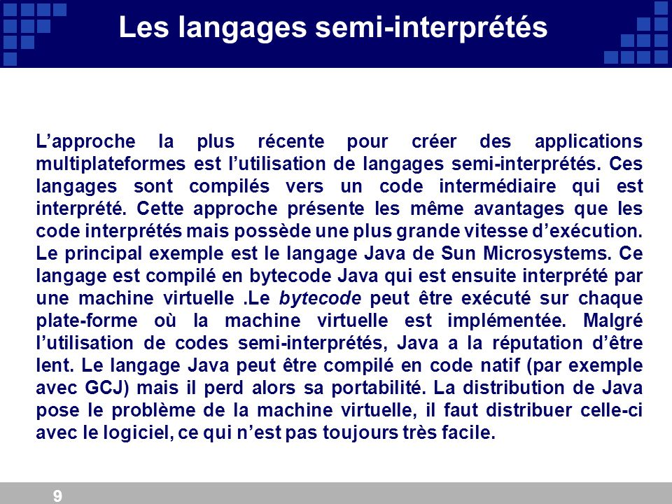 Les langages semi-interprétés