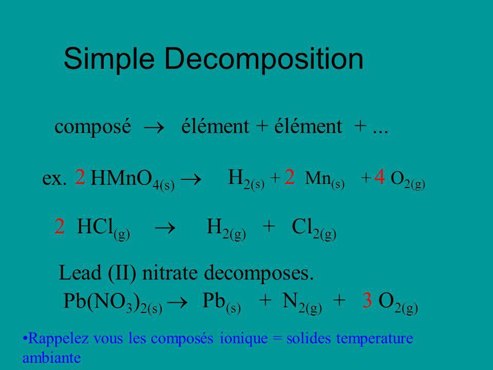 Simple Decomposition composé  élément + élément + ... ex. HMnO4(s) 