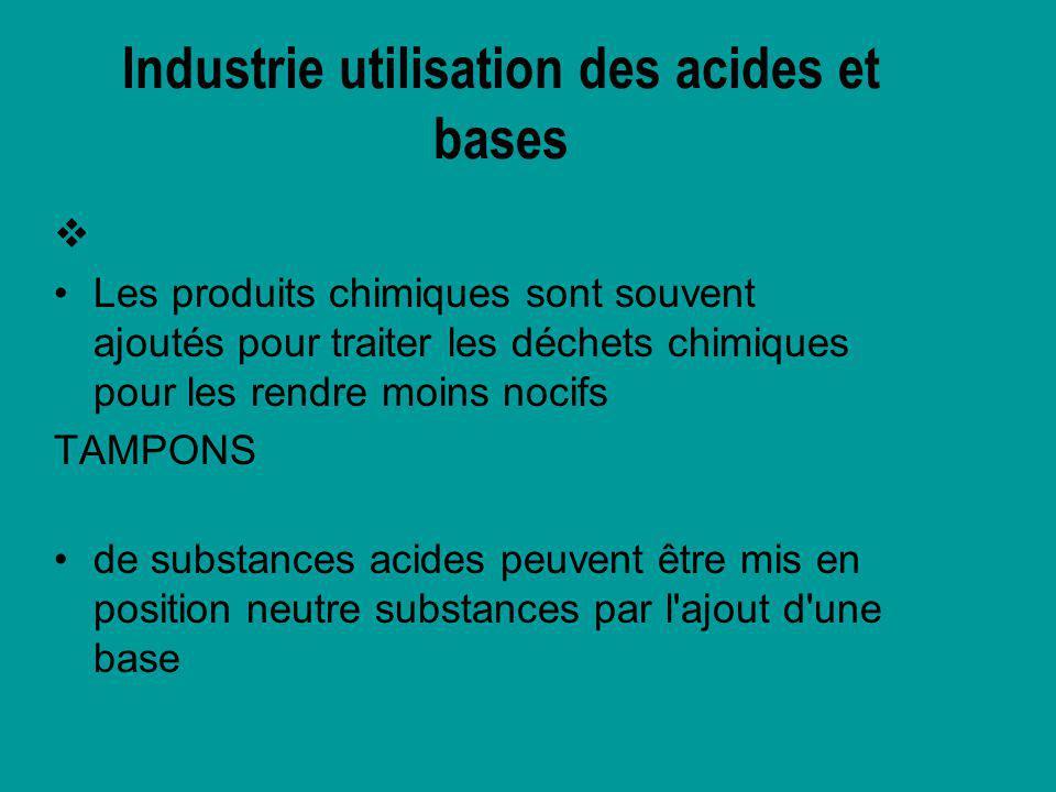 Industrie utilisation des acides et bases
