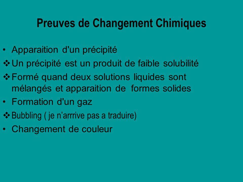 Preuves de Changement Chimiques