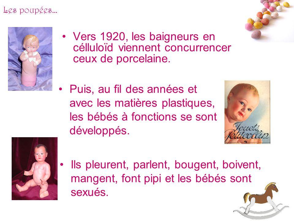 Les poupées… Vers 1920, les baigneurs en célluloïd viennent concurrencer ceux de porcelaine.