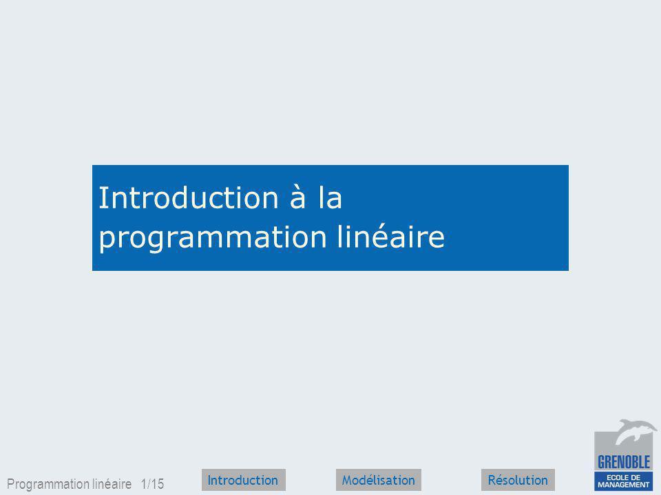 Introduction à la programmation linéaire