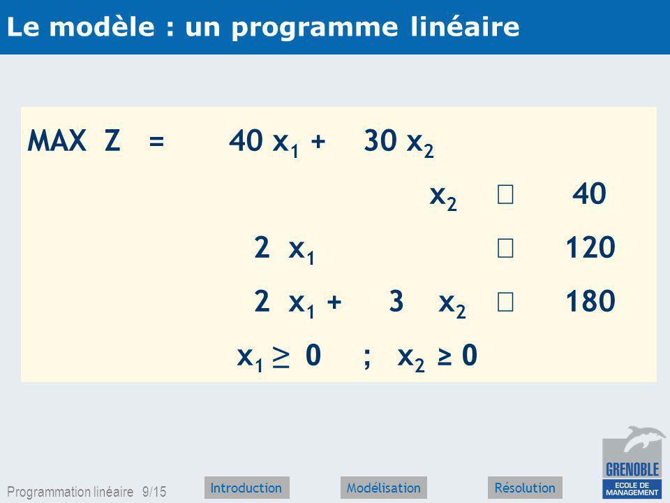 Le modèle : un programme linéaire