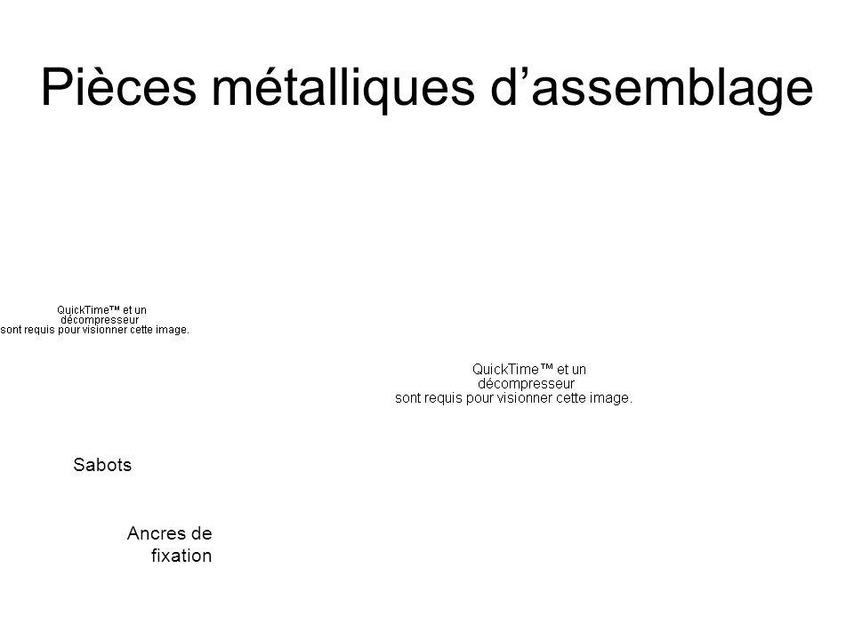 Pièces métalliques d'assemblage