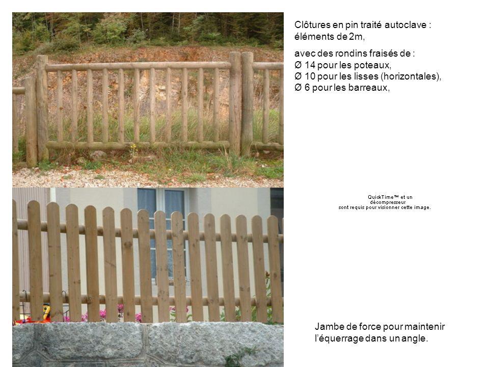 Barraudage Clôtures en pin traité autoclave : éléments de 2m,