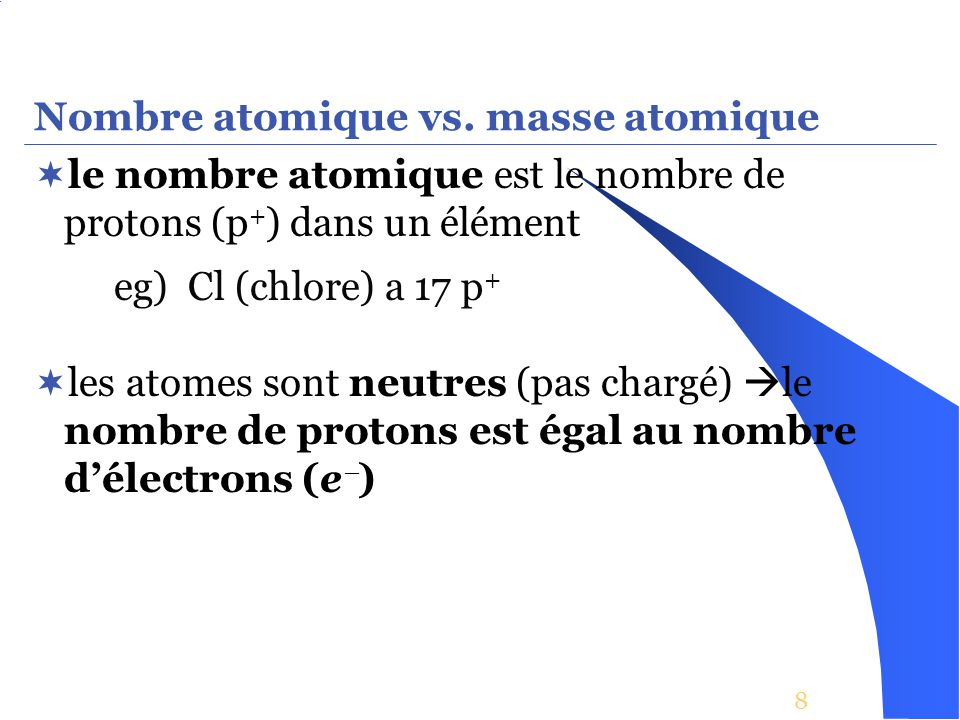 Nombre atomique vs. masse atomique