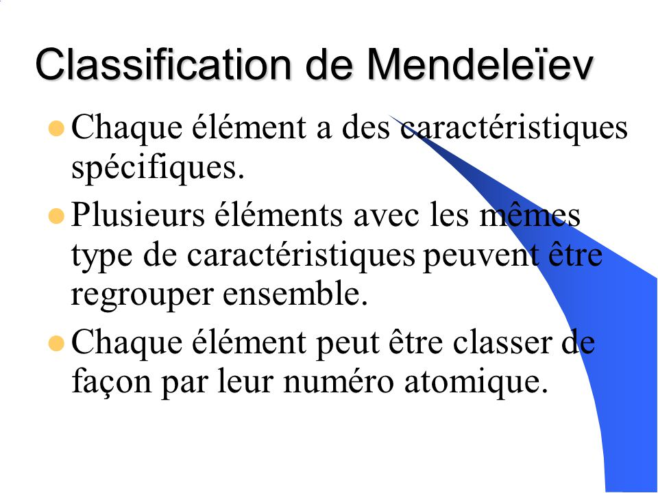 Classification de Mendeleïev