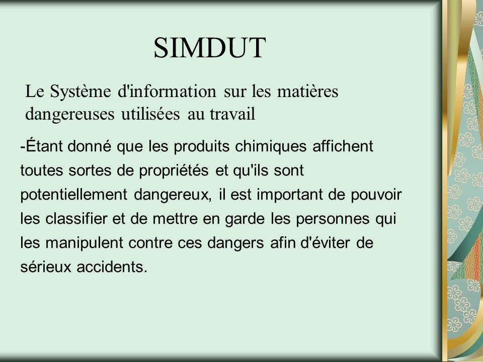 SIMDUT Le Système d information sur les matières