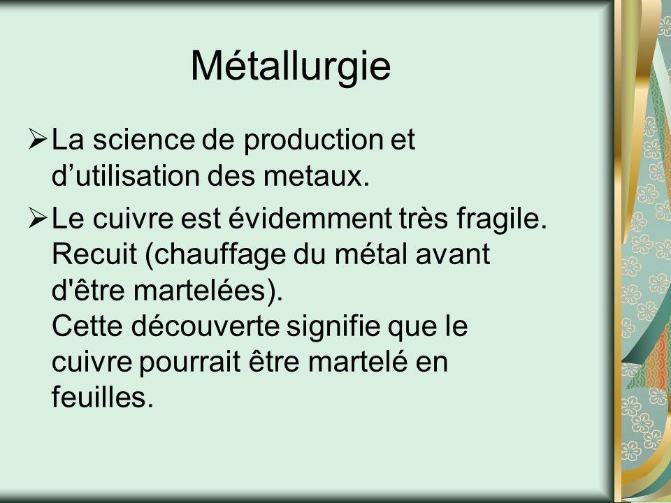 Métallurgie La science de production et d'utilisation des metaux.