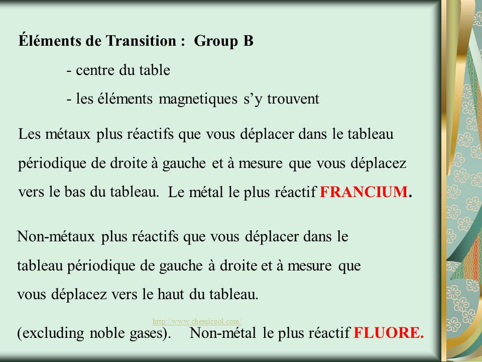Éléments de Transition : Group B - centre du table