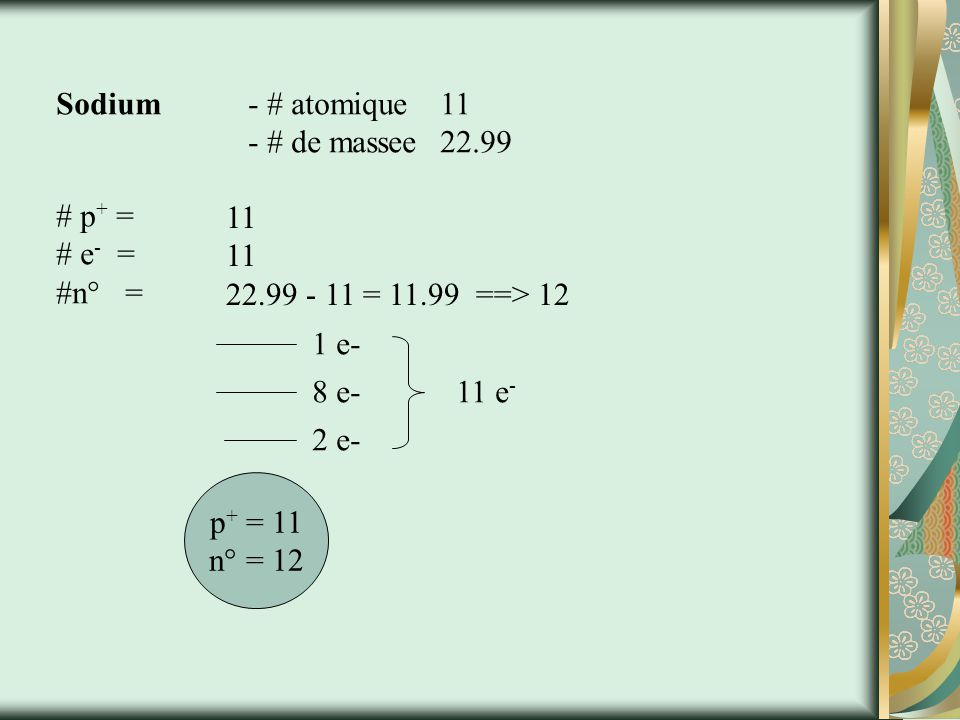 Sodium - # atomique 11 - # de massee 22.99. # p+ = # e- = #n° = 11. 22.99 - 11 = 11.99 ==> 12.