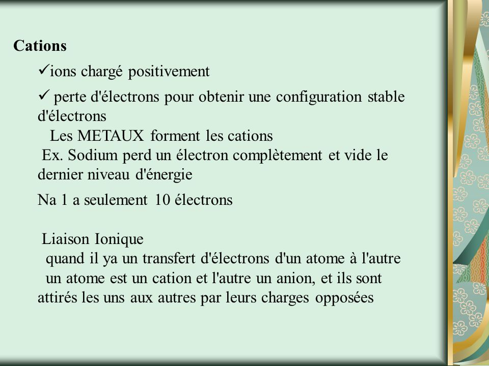 Cations ions chargé positivement.