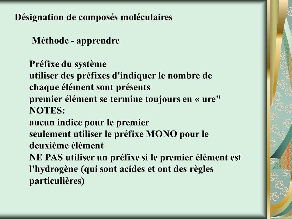 Désignation de composés moléculaires Méthode - apprendre Préfixe du système utiliser des préfixes d indiquer le nombre de chaque élément sont présents premier élément se termine toujours en « ure NOTES: aucun indice pour le premier seulement utiliser le préfixe MONO pour le deuxième élément NE PAS utiliser un préfixe si le premier élément est l hydrogène (qui sont acides et ont des règles particulières)