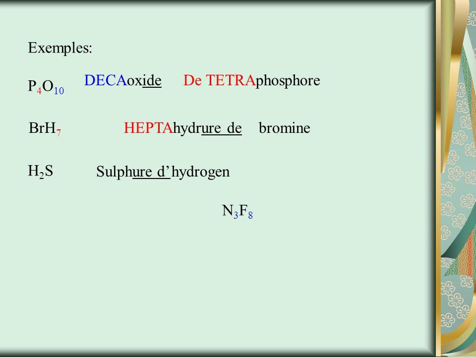 Exemples: P4O10. DECAoxide. De TETRAphosphore. BrH7. HEPTAhydrure de. bromine. H2S. Sulphure d'